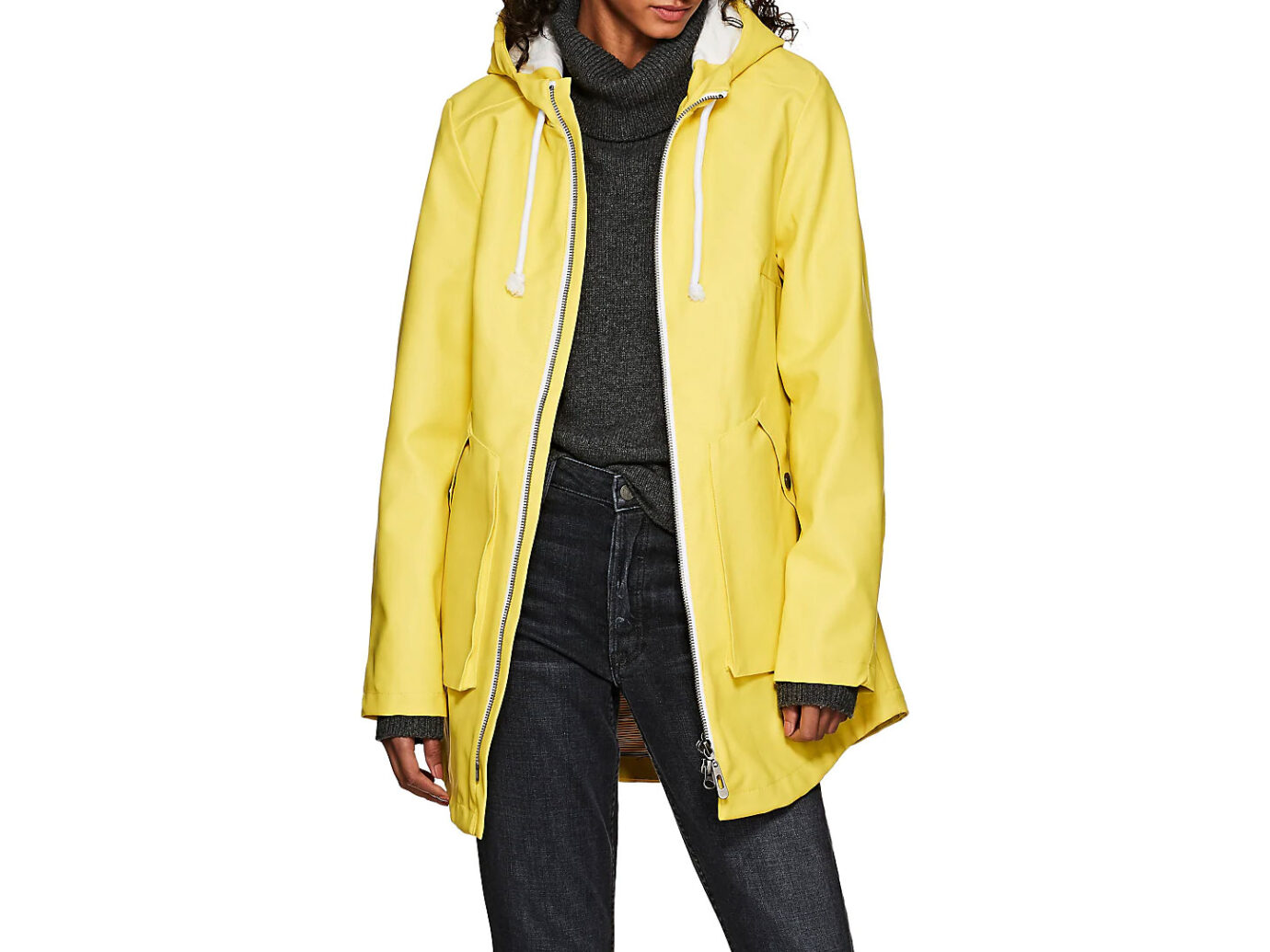 BARNEYS NEW YORK PVC Zip-Front Raincoat