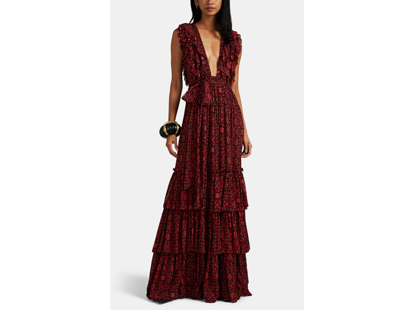 Ulla Johnson Anika Diamond Print Georgette Maxi Dress