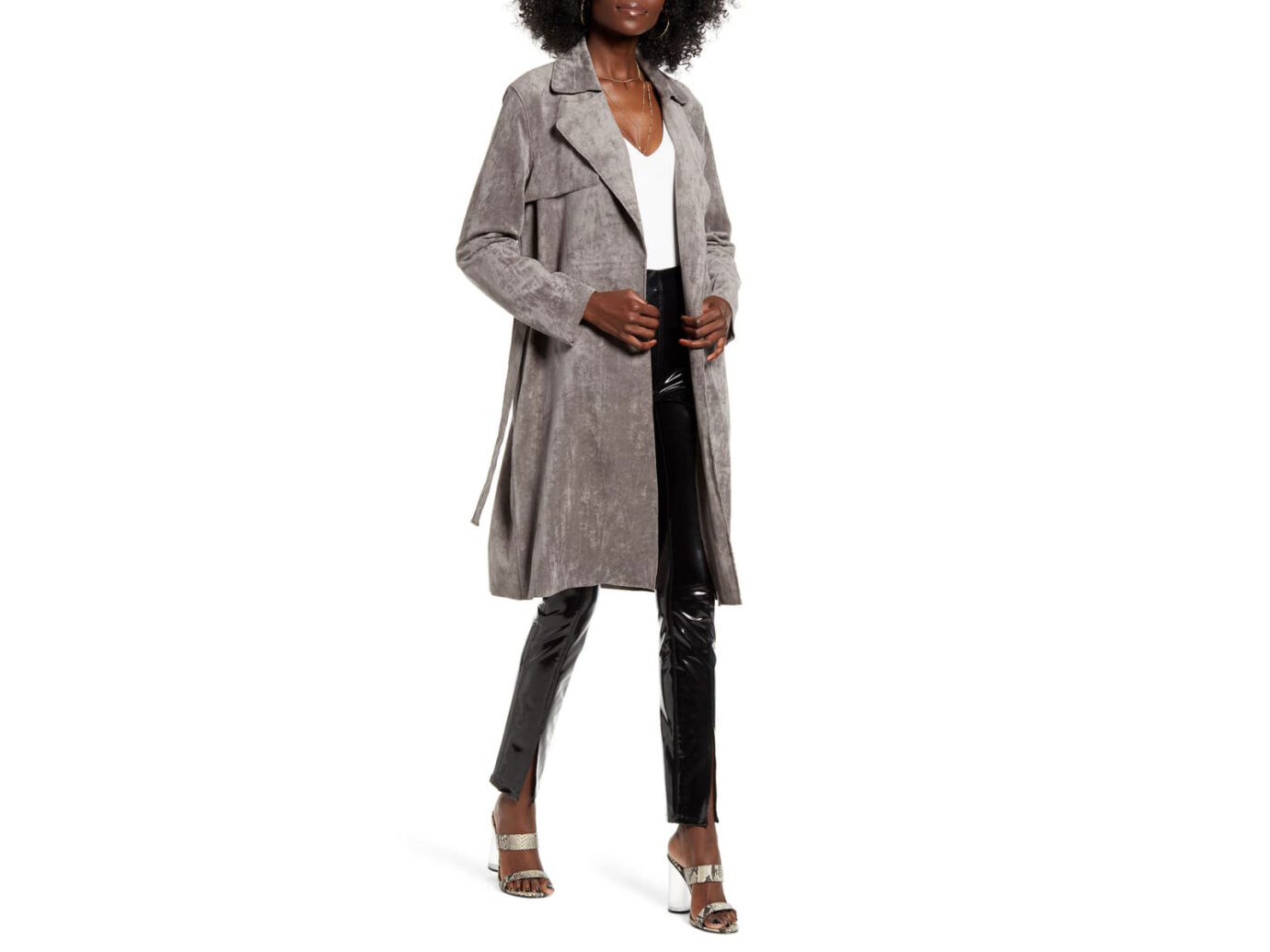 BLANKNYC Faux Suede Trench Coat
