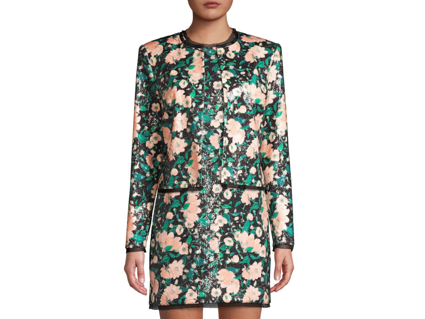 Rachel Zoe Abbie Print Sequin Collarless Jacket