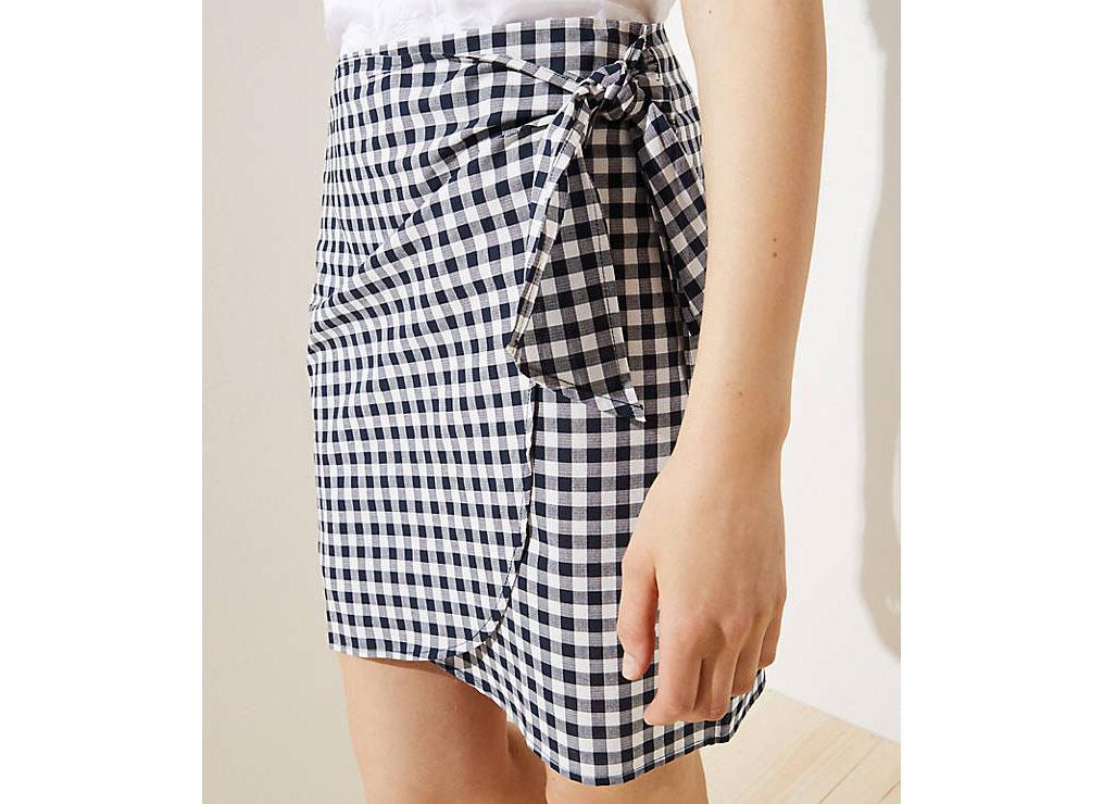 LOFT Gingham Wrap Shift Skirt