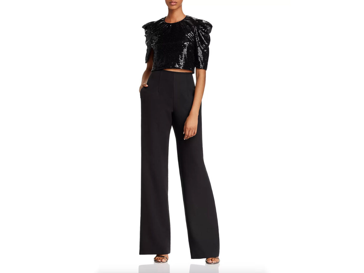 Black Halo Tressa Convertible Sequin-Detail Jumpsuit