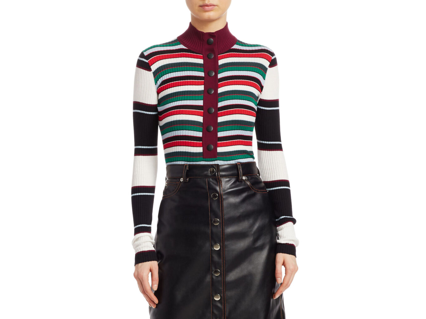 Proenza Schouler PSWL Ribbed Rugby Striped Turtleneck Sweater