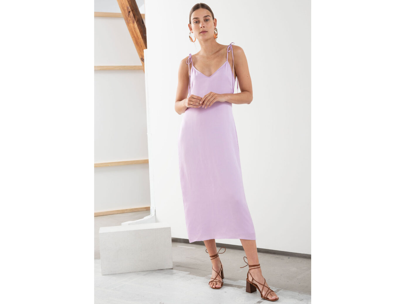 & Other Stories Shoulder Tie Midi Slip Dress