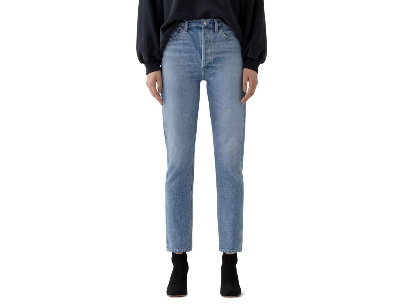 AGOLDE Remy High-Rise Straight Organic-Cotton Stretch Jeans in Collision