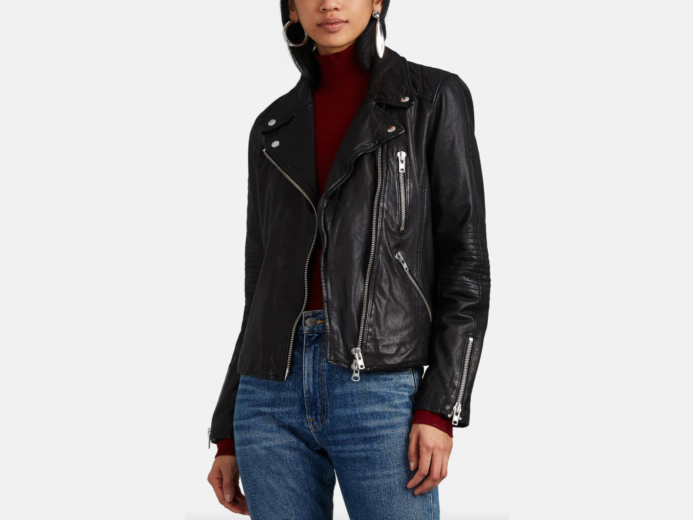 Barneys New York Quilted Leather Moto Jacket