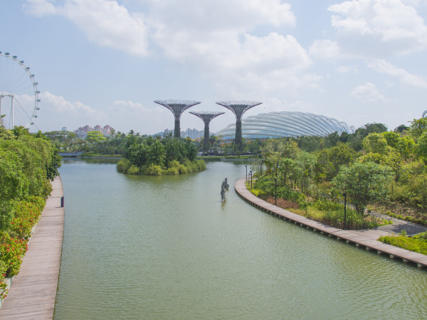 Panoramic view of urban landscape in Singapore.