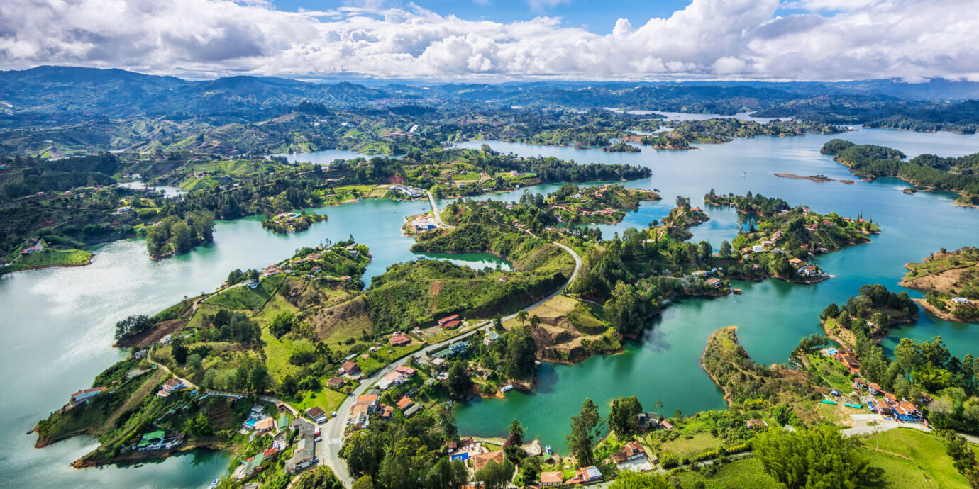 Panoramic view of Guatape from the Rock (La Piedra del Penol), near Medellin, Colombia.