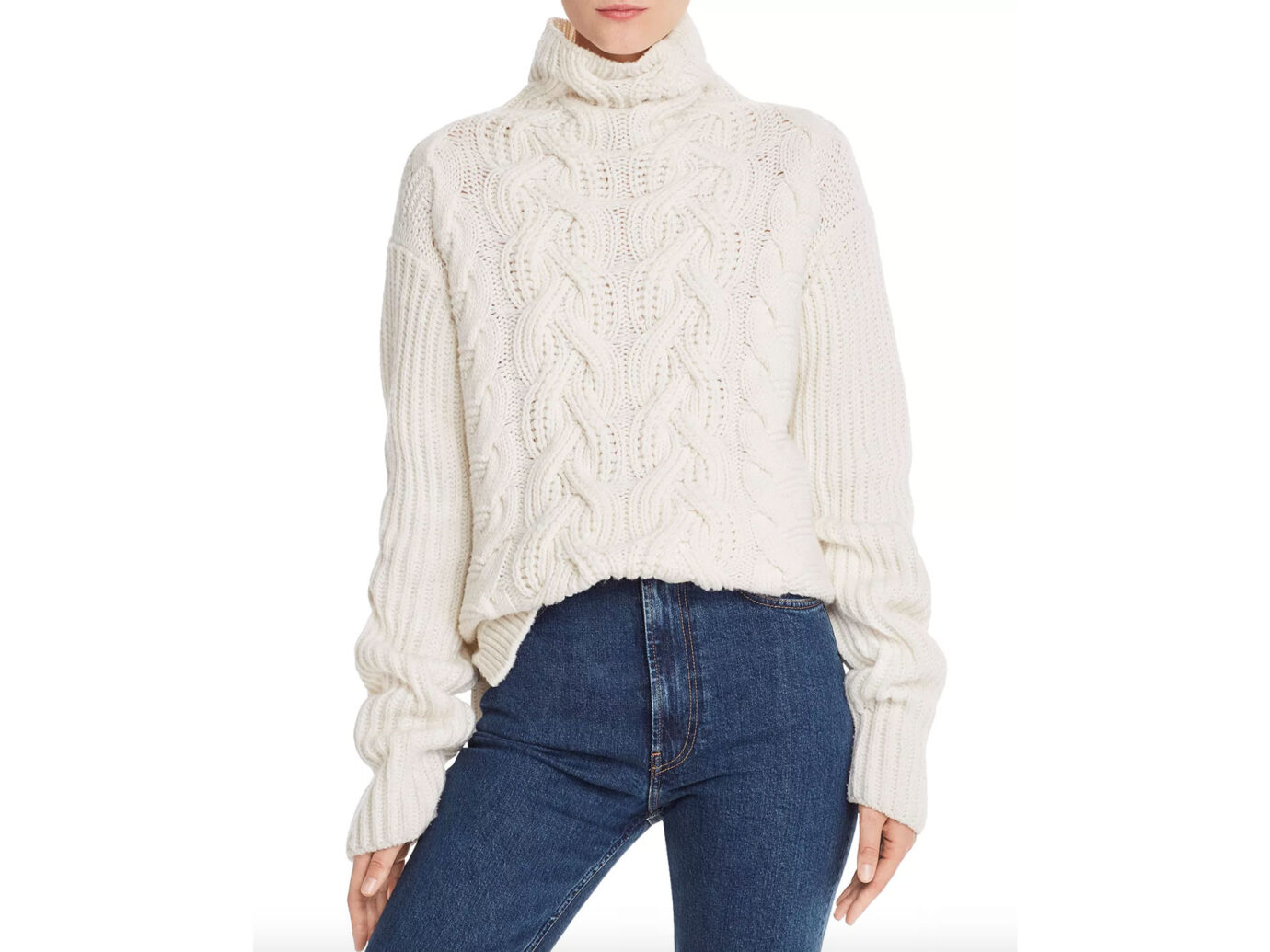 Helmut Lang Lambswool Chunky Mock Neck Sweater