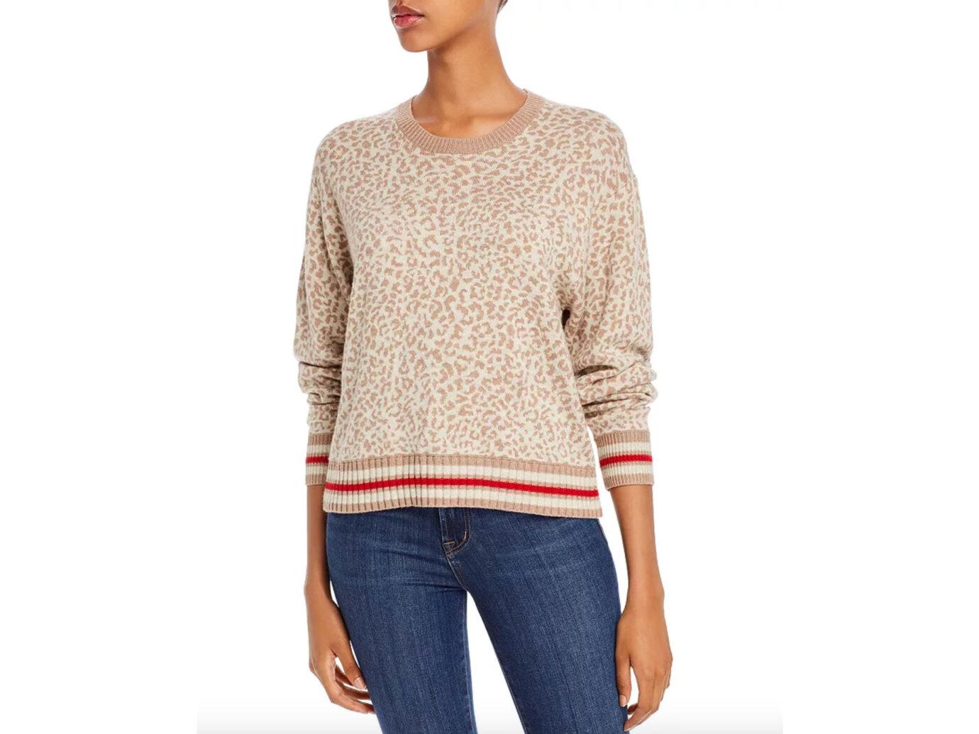 Splendid Leopard-Pattern Crewneck Sweater