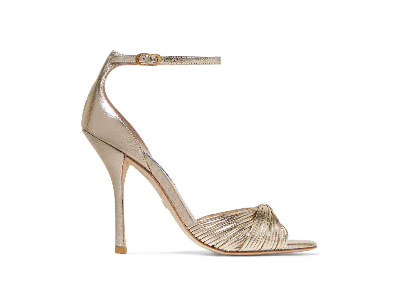 Stuart Weitzman Paulette metallic textured-leather sandals