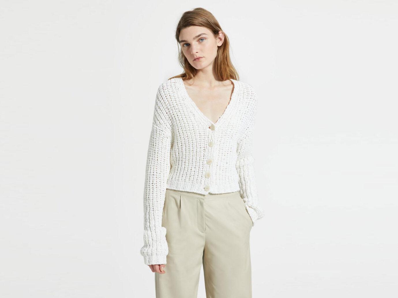 Theory Cotton Nylon Ribbed Cardigan