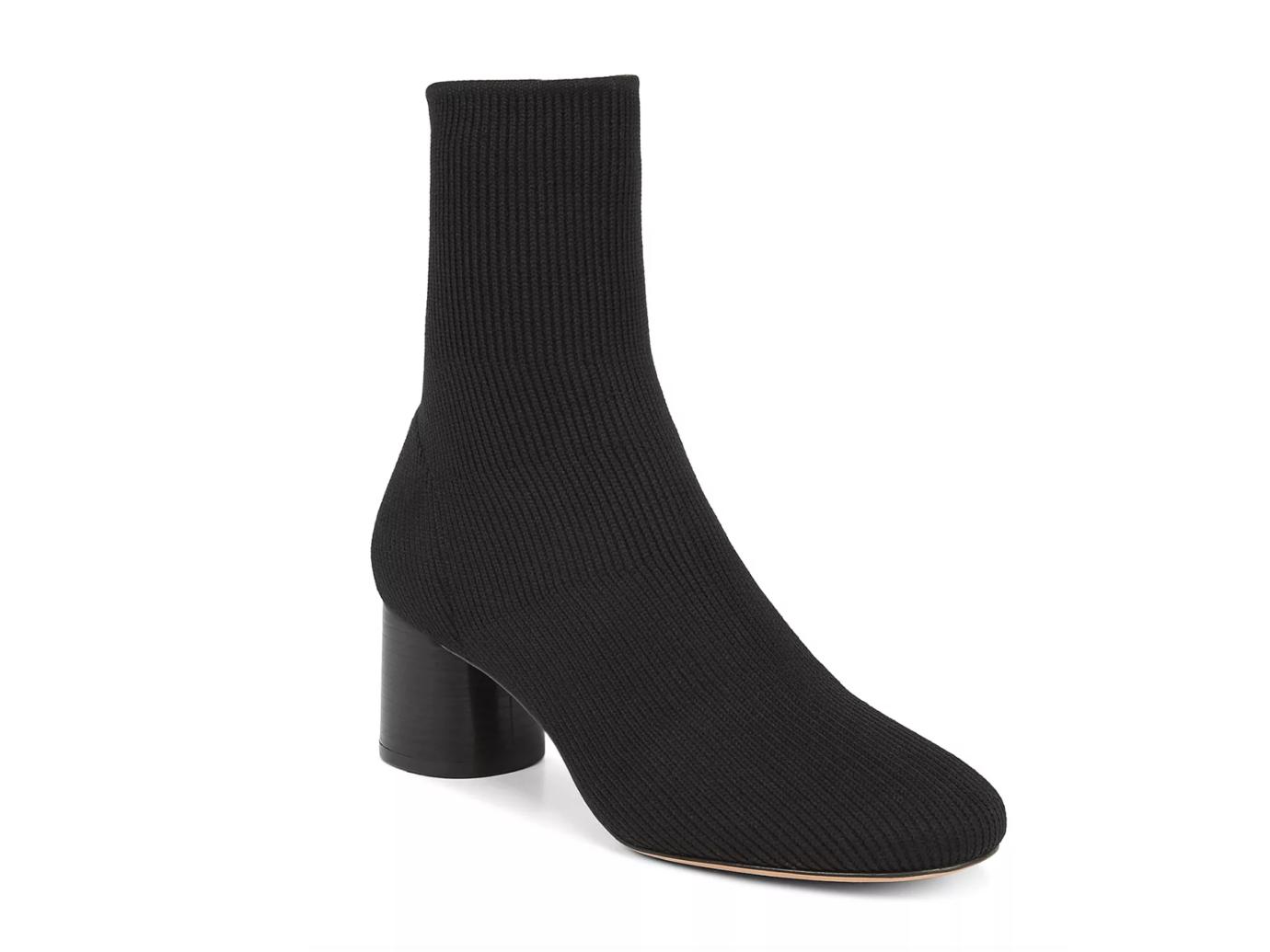 Vince Tasha Round-Toe Mid-Heel Knit Booties