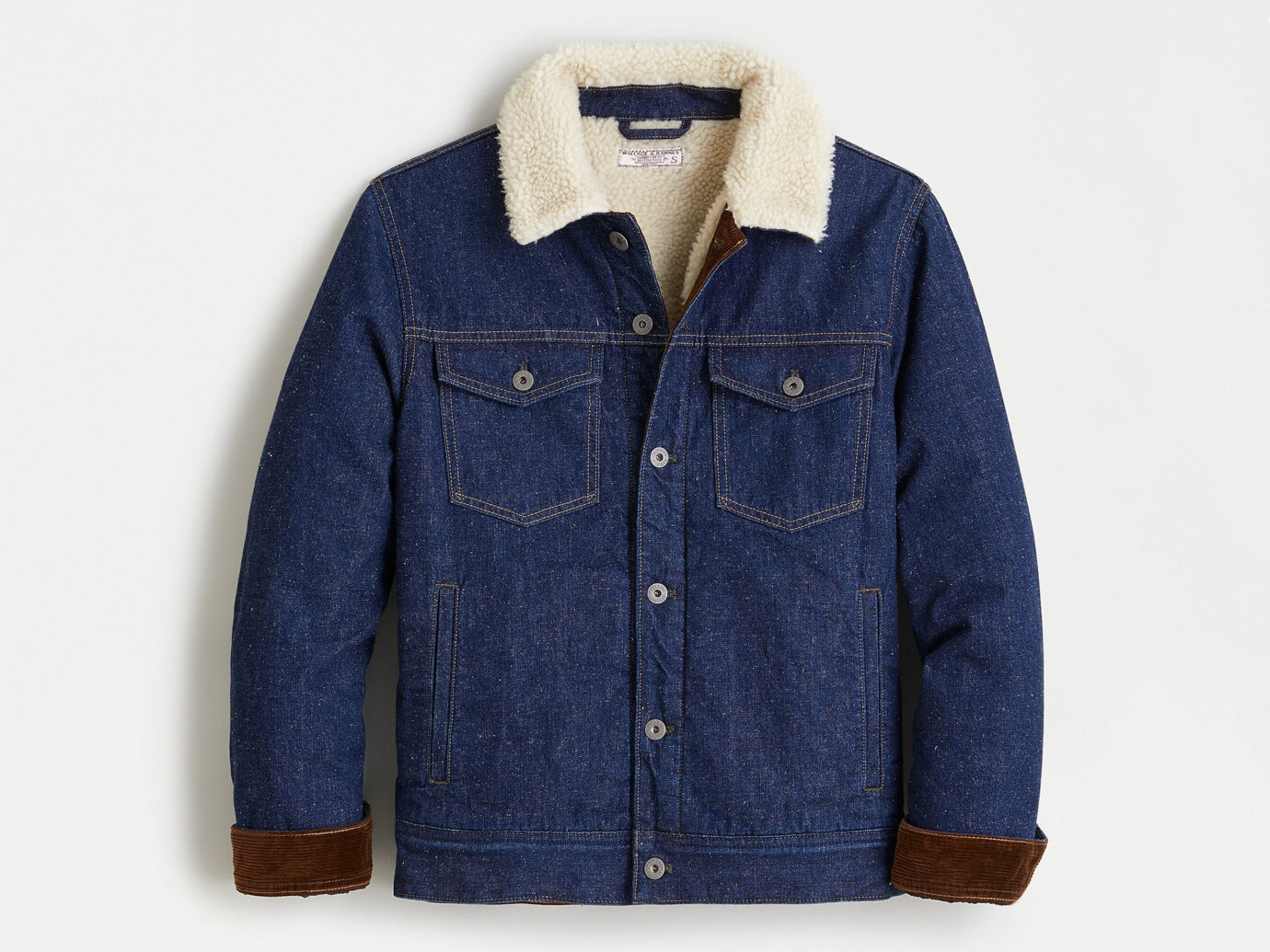 J.Crew Japanese denim trucker jacket with sherpa collar
