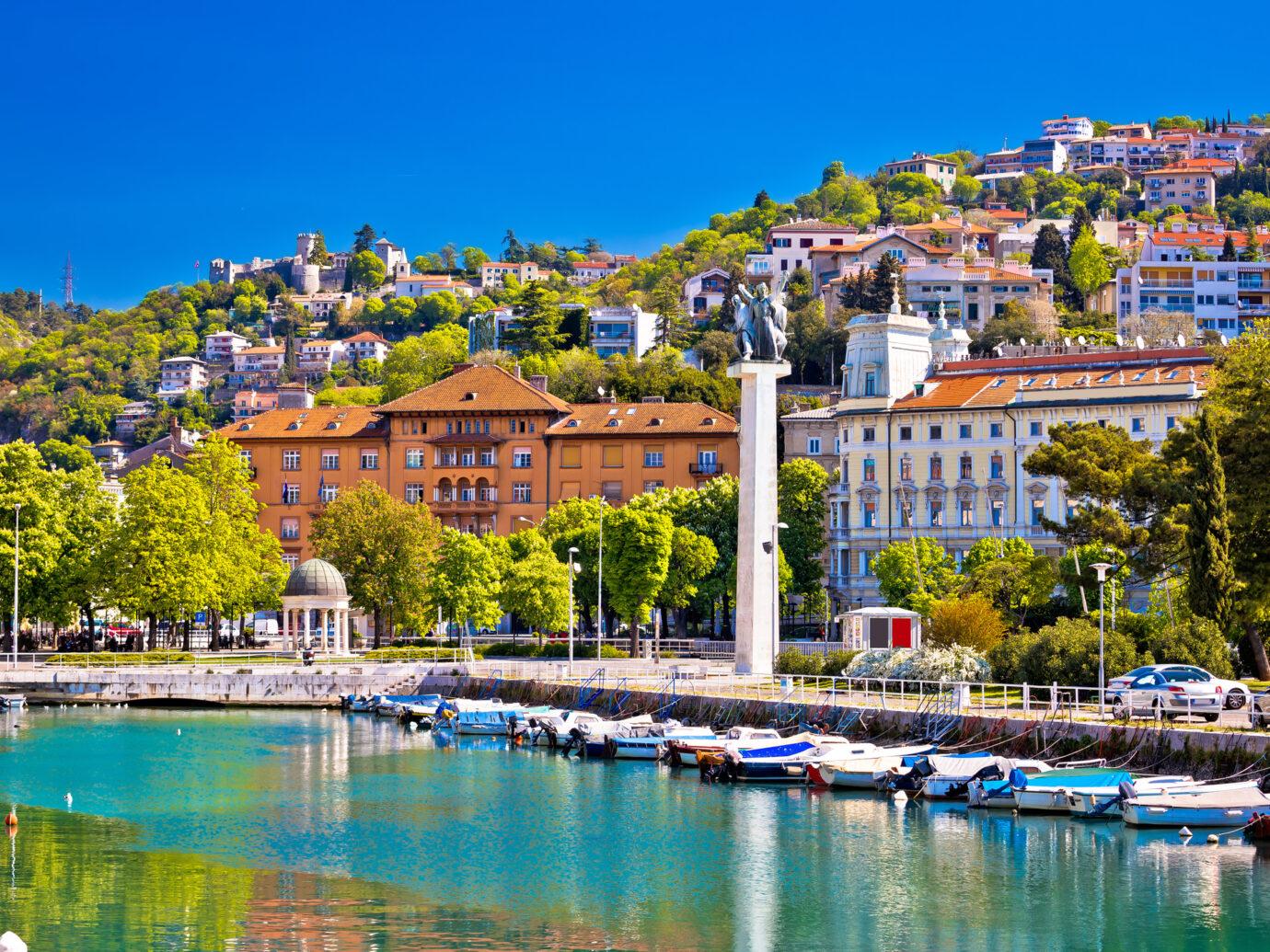City of Rijeka Delta and trsat view, Kvarner bay, Croatia