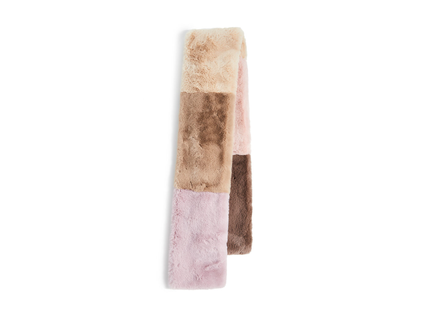 Jocelyn Faux Fur Wide Colorblock Scarf