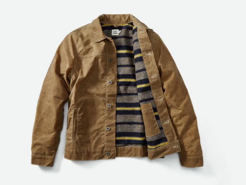 Flint and Tinder Wool-lined Waxed Trucker Jacket