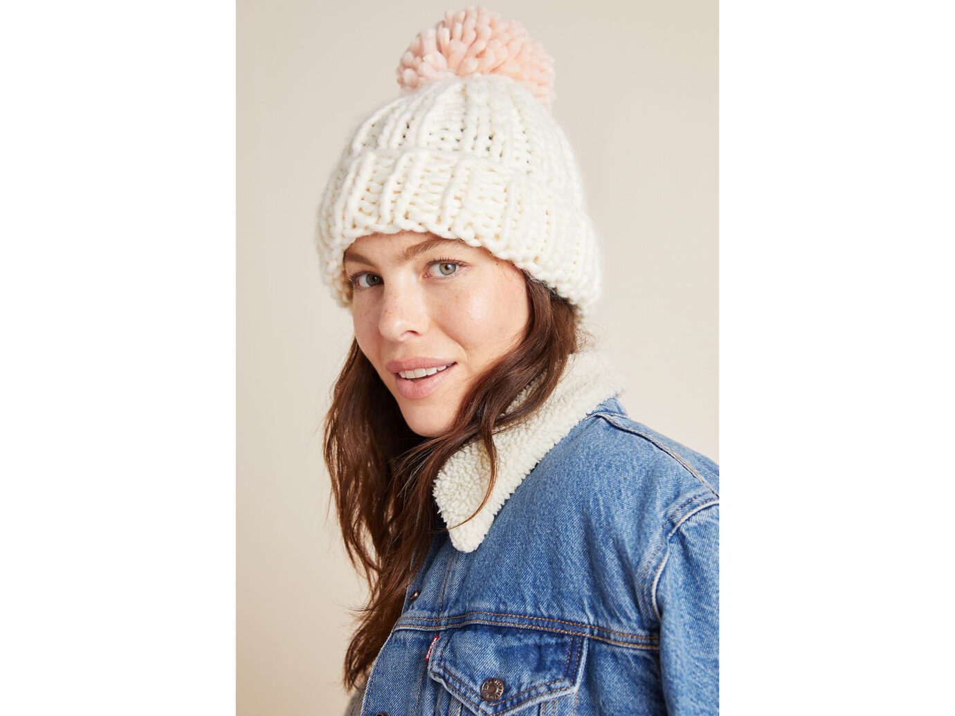 Anthropologie Shea Pommed Beanie