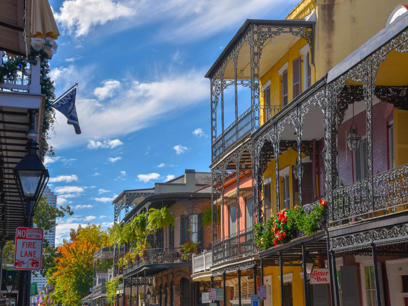 Typical houses in the French quarter of New Orleans (USA)