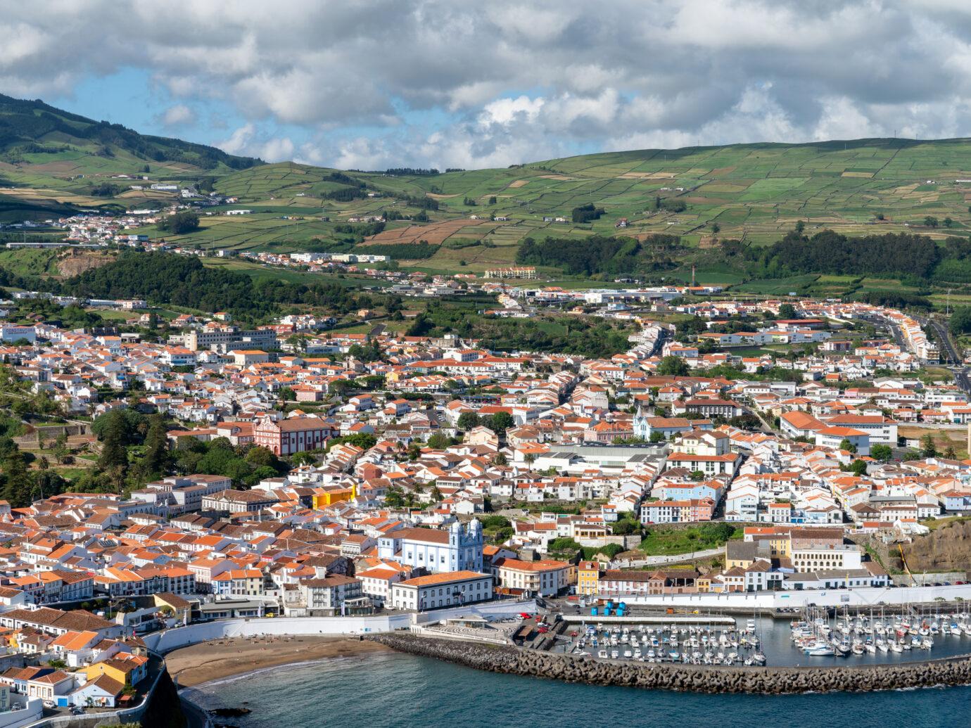 Town of Angra do Heroismo on Terciera Island, Azores