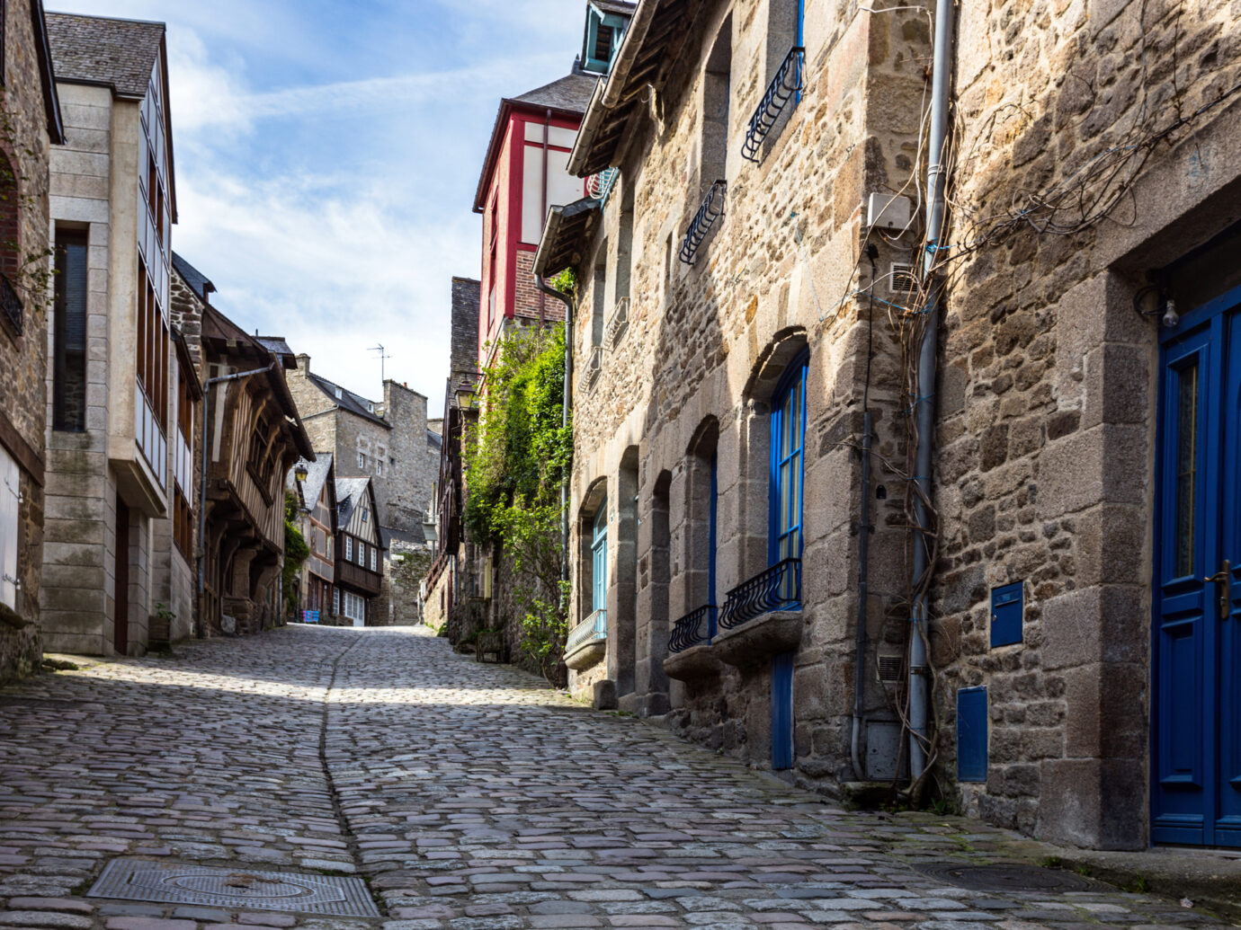 Streets with colombage houses in the famous city of Dinan. Normandy, France