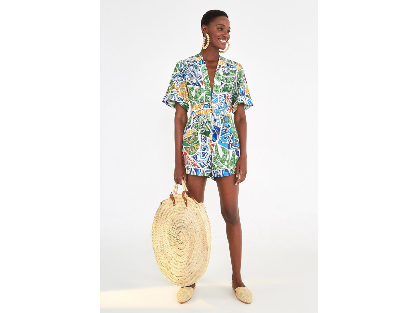 Farm Rio Tropical Tile Jumpsuit