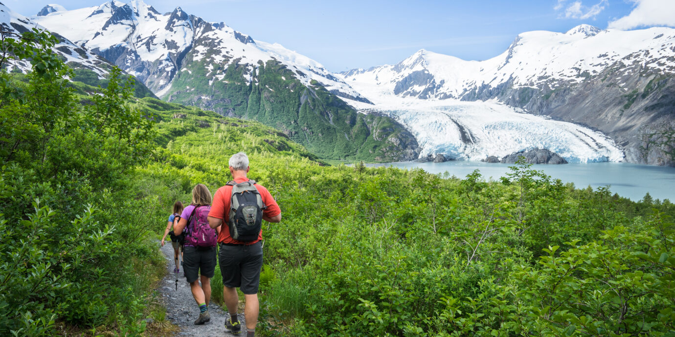 hikers descending Portage Pass in Anchorage Alaska