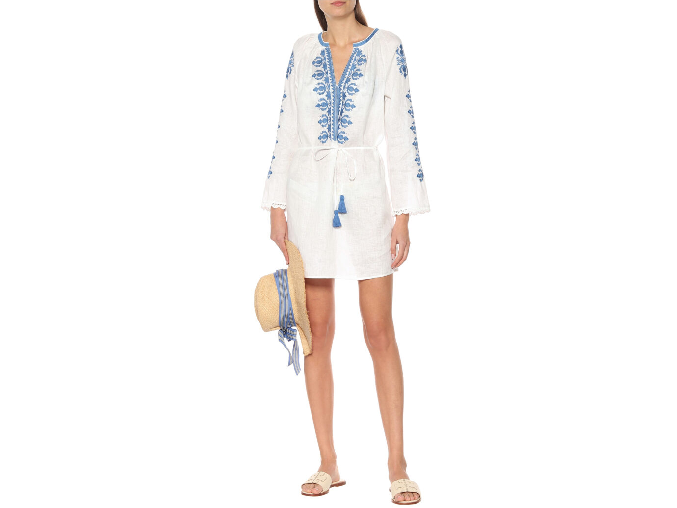 Tory Burch Embroidered Linen Mini Dress