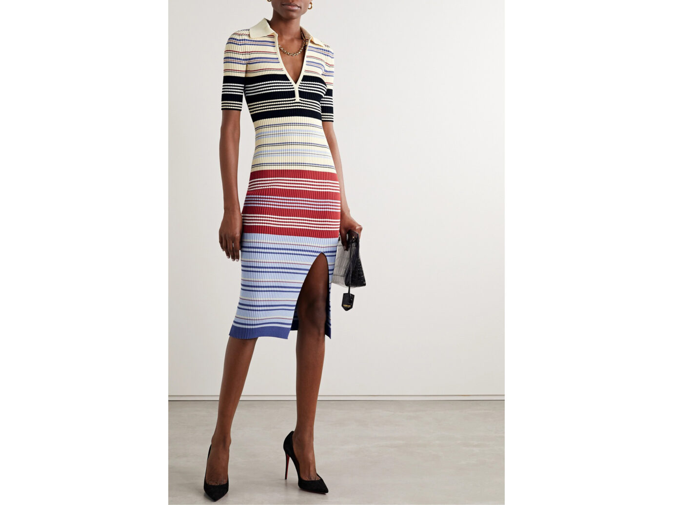 Altuzarra Barkers Striped Rib-Knit Dress