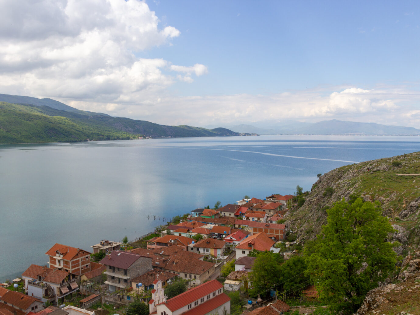 The Lake Ohrid photo taken from Albania near the border with Macedonia. Very clean and blue lake