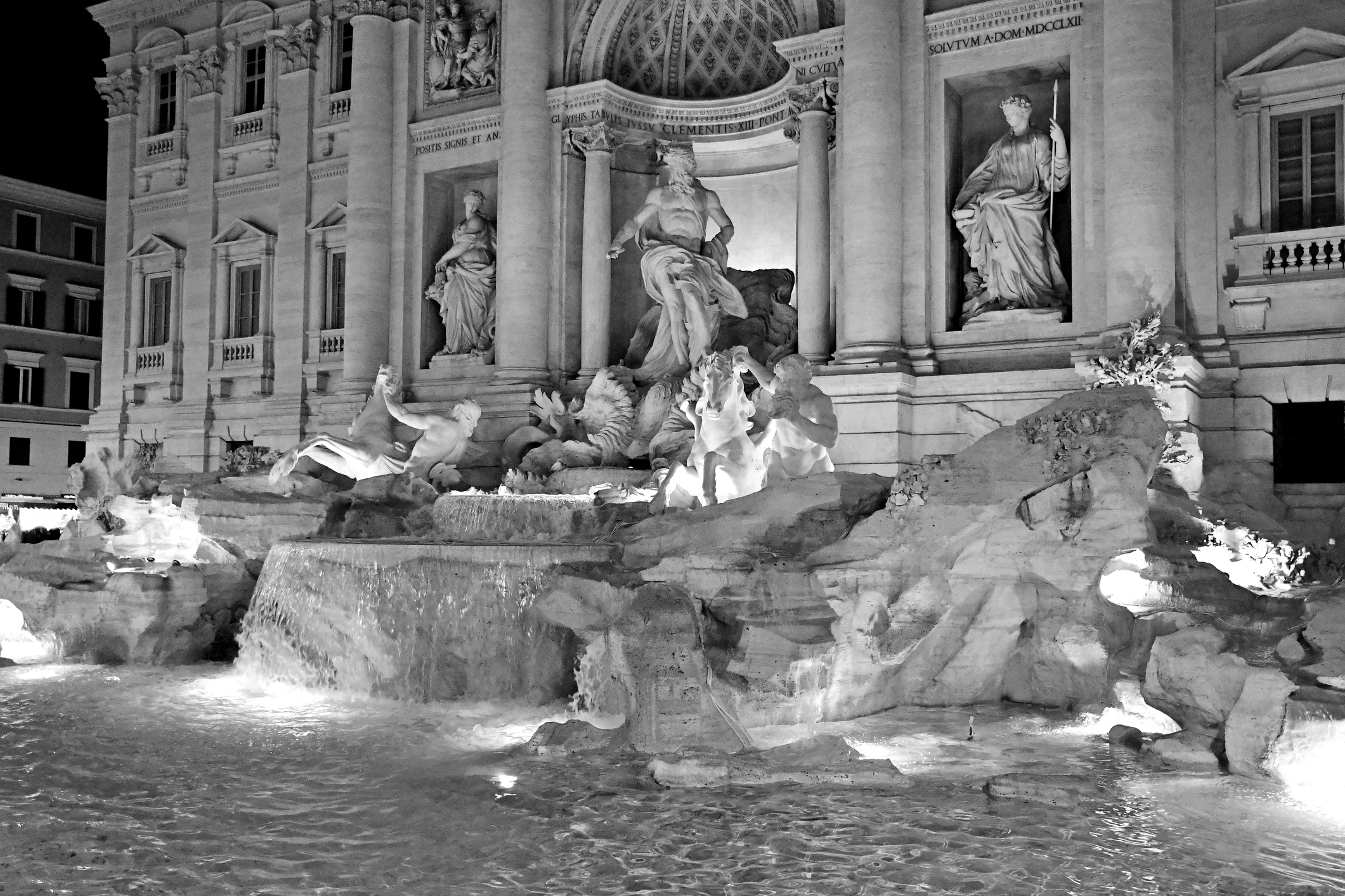 Retro photos in B&W of Rome, Italy