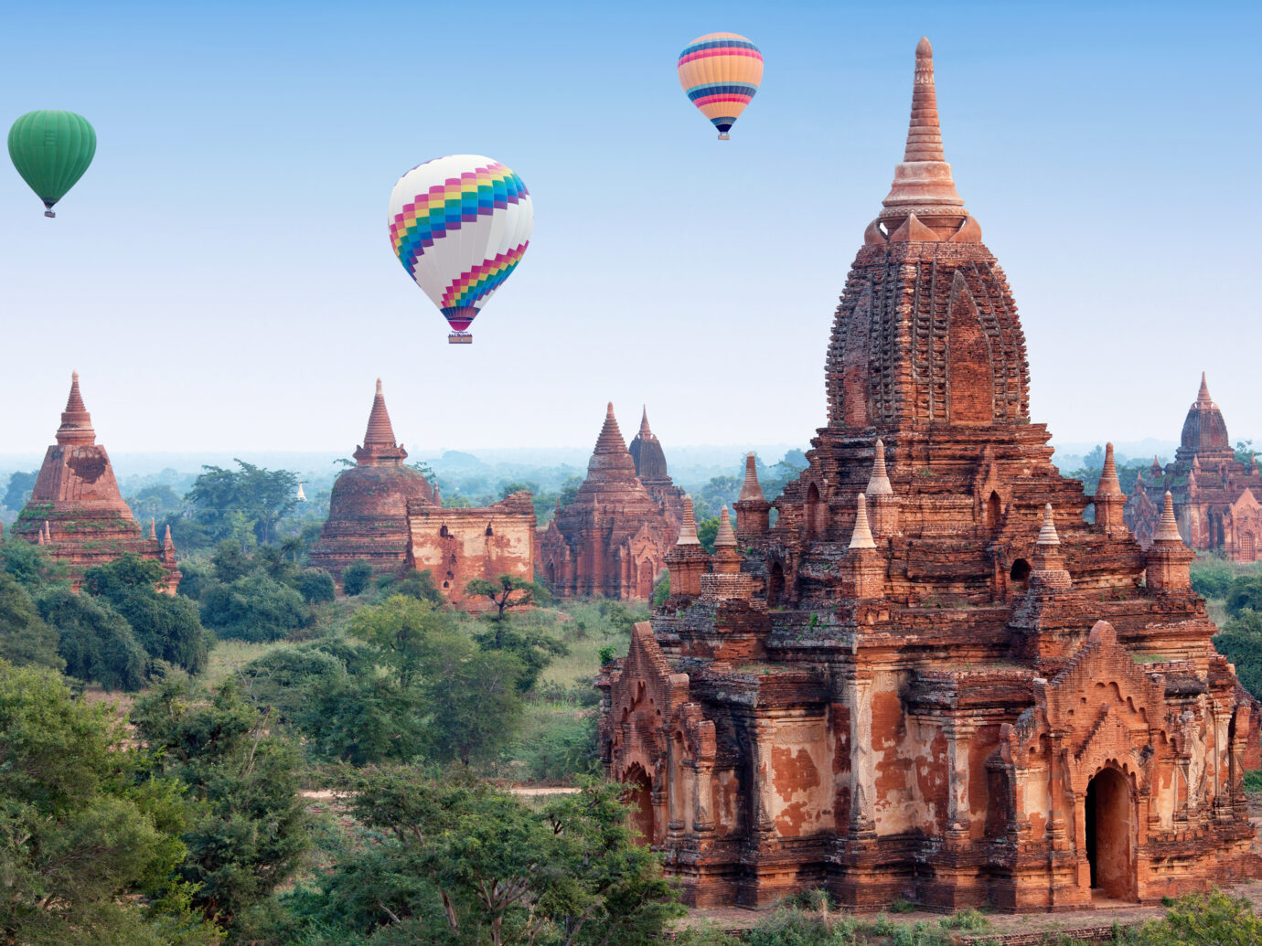 hot air balloons flying over Bagan, Mandalay division, Myanmar
