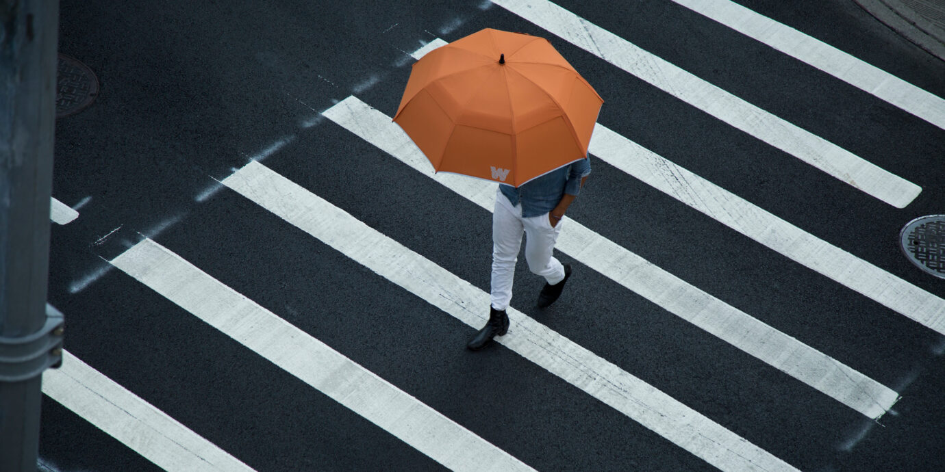Weatherman umbrella on a rainy day