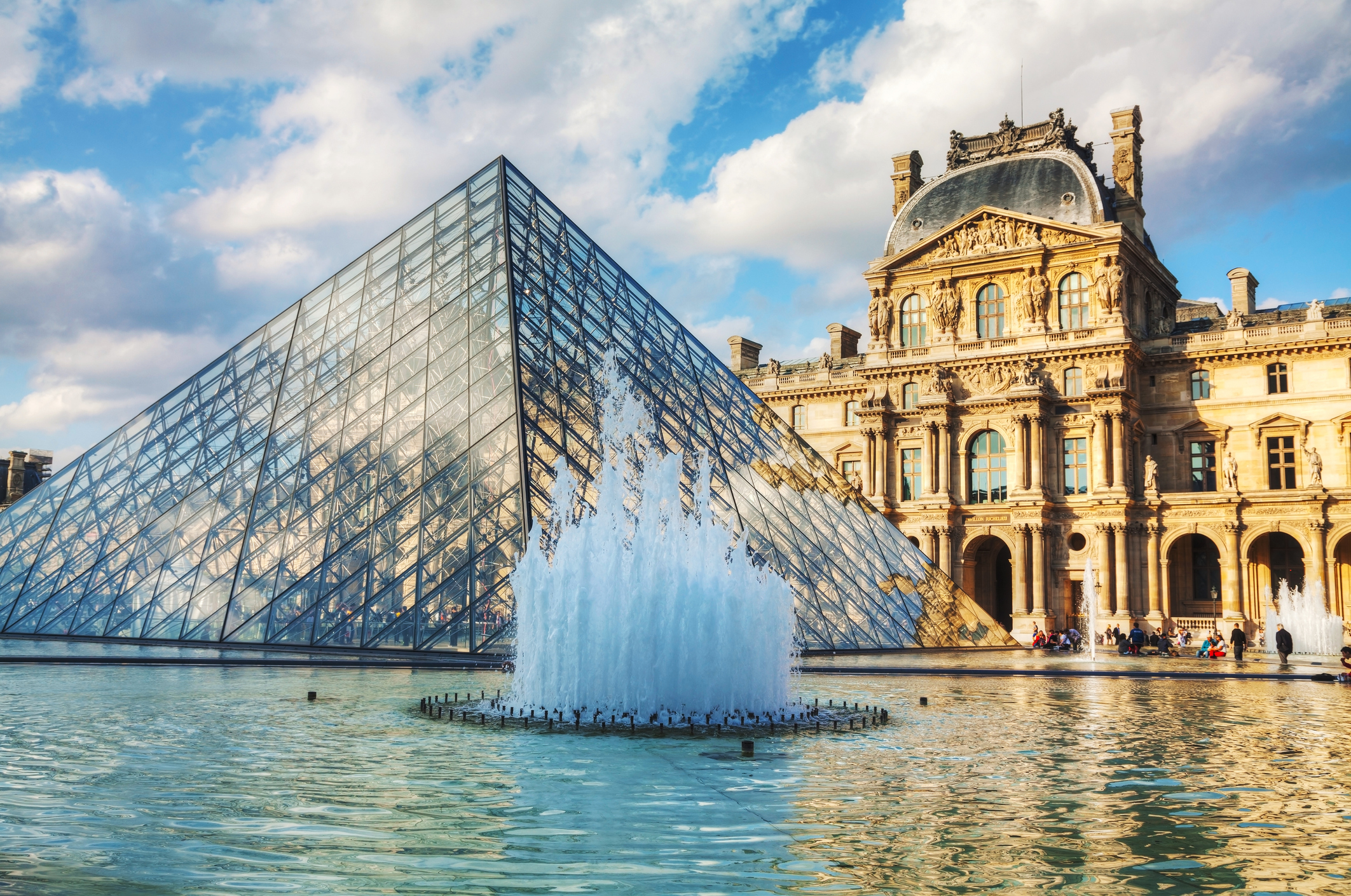 The Louvre Pyramid in Paris, France. It serves as the main entrance to the Louvre Museum. Completed in 1989 it has become a landmark of Paris.