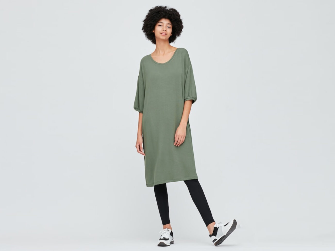 WOMEN ULTRA STRETCH SOFT 3/4 SLEEVE DRESS