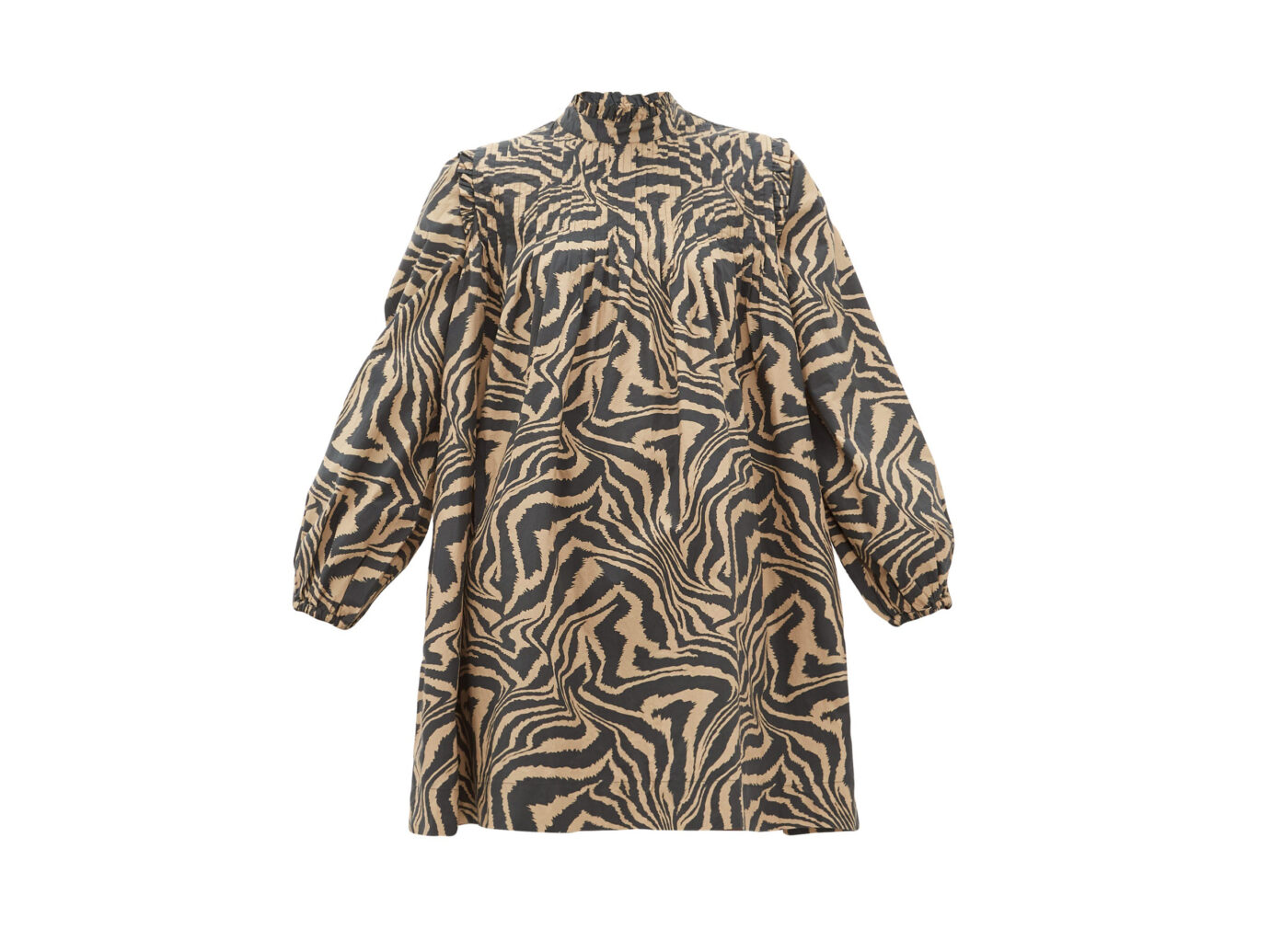 Ganni Tiger-print pintucked cotton smock dress