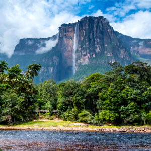 The magnificent Angel Falls as seen from the river bed at its feet