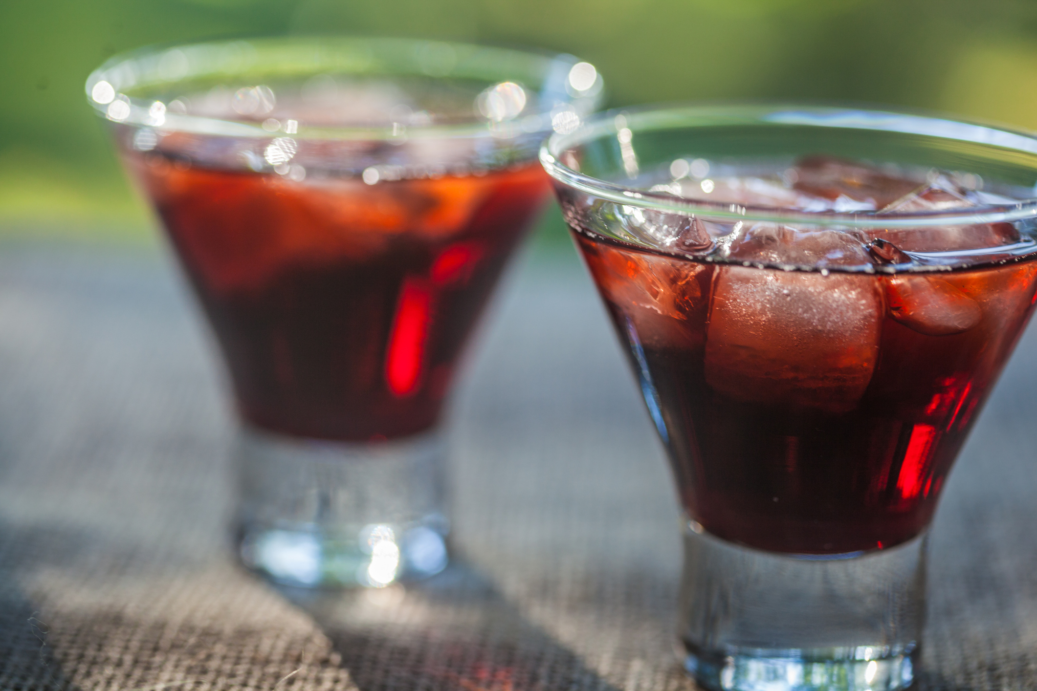 Two glasses of cold Tinto de verano also known as Summer red wine.