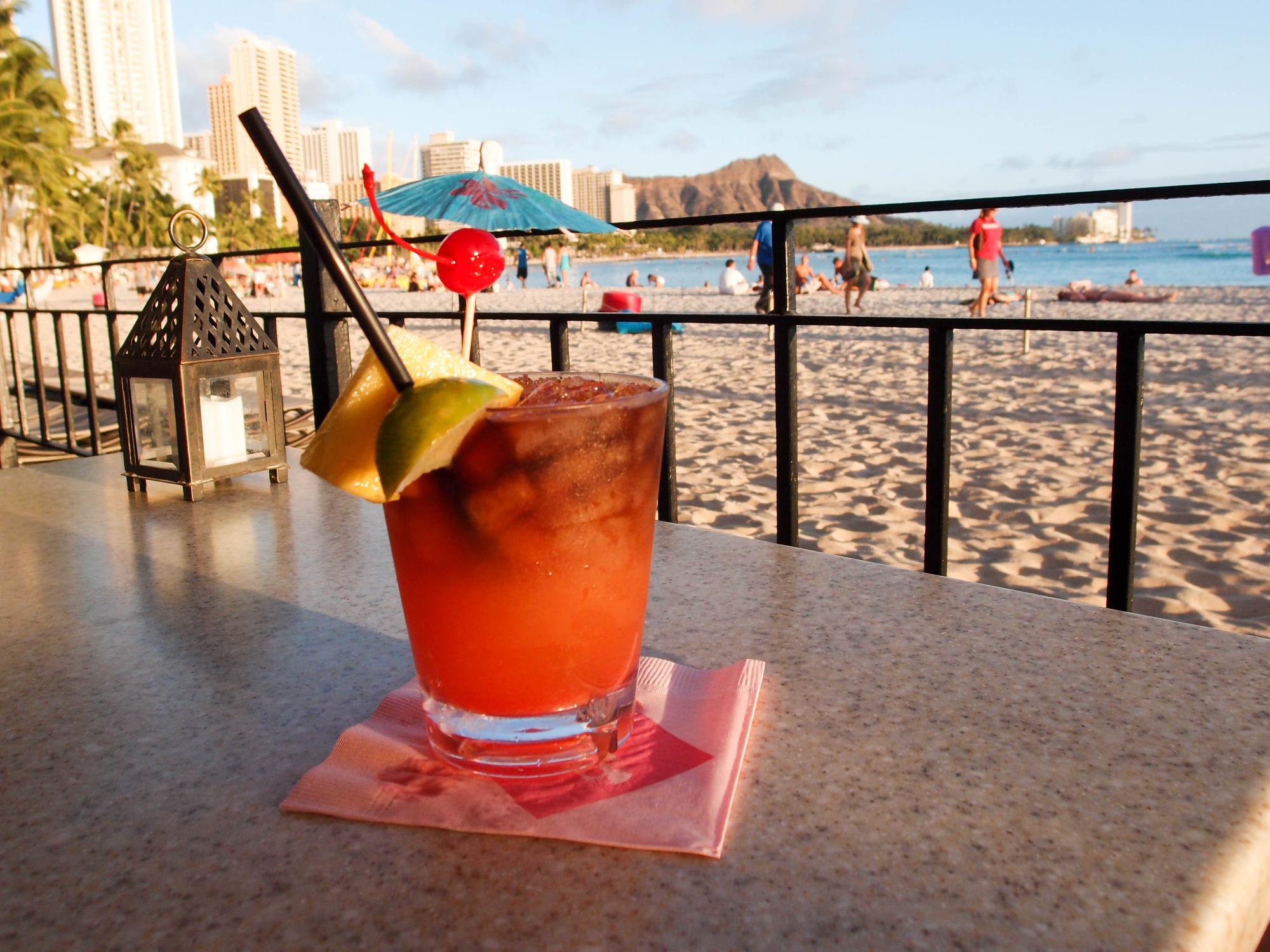 mai tai cocktail at beach in Hawaii