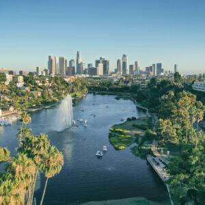 Vantage view of Los Angeles in California