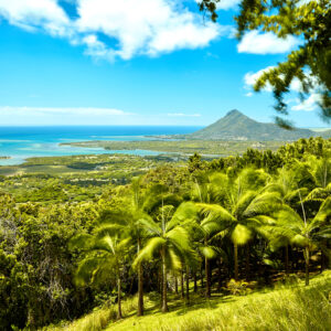 Beautiful coast of Mauritius seen from the viewing point if Chamarel