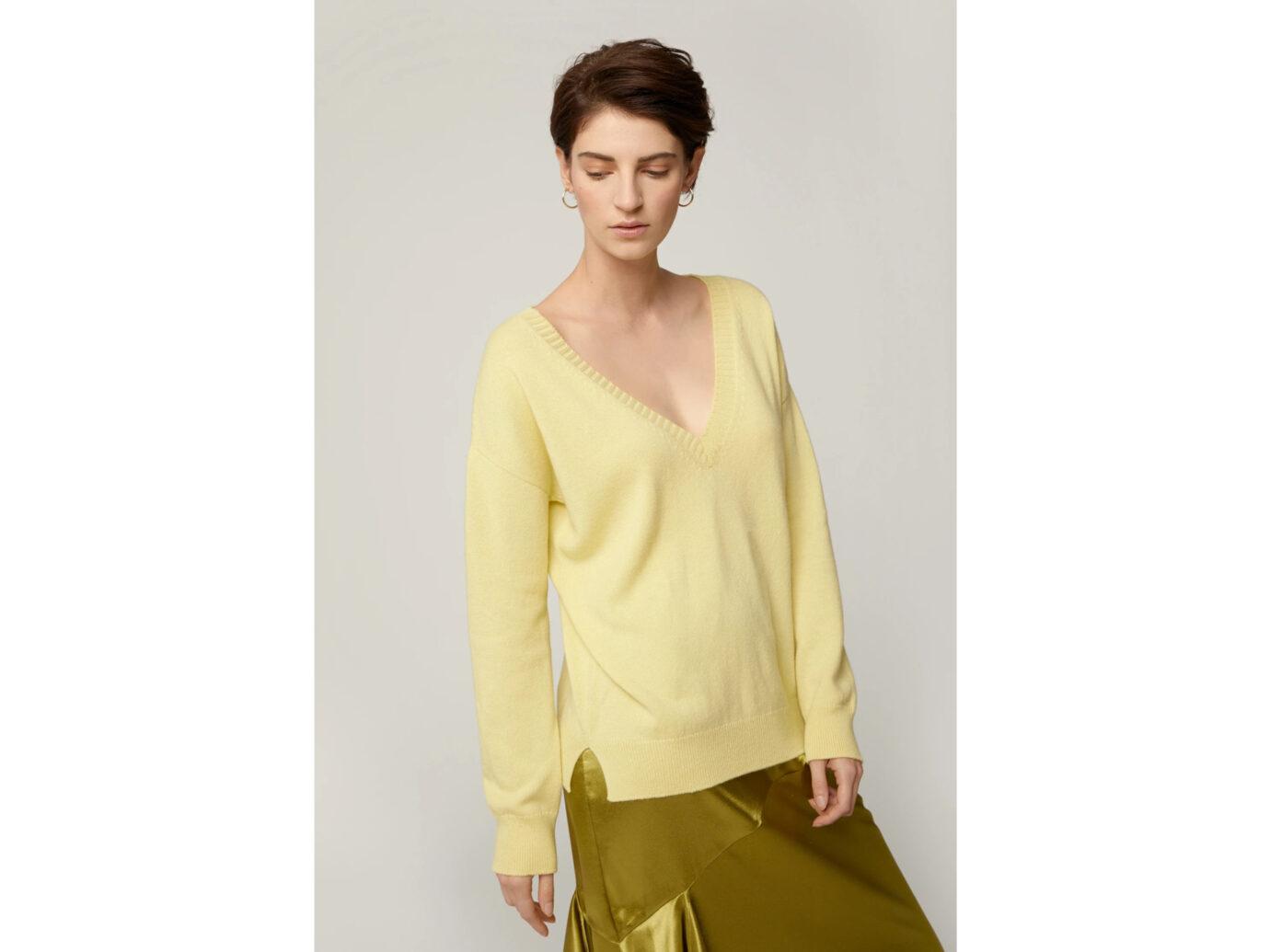 Frances Austen Reversible V Pale Lemon Sweater