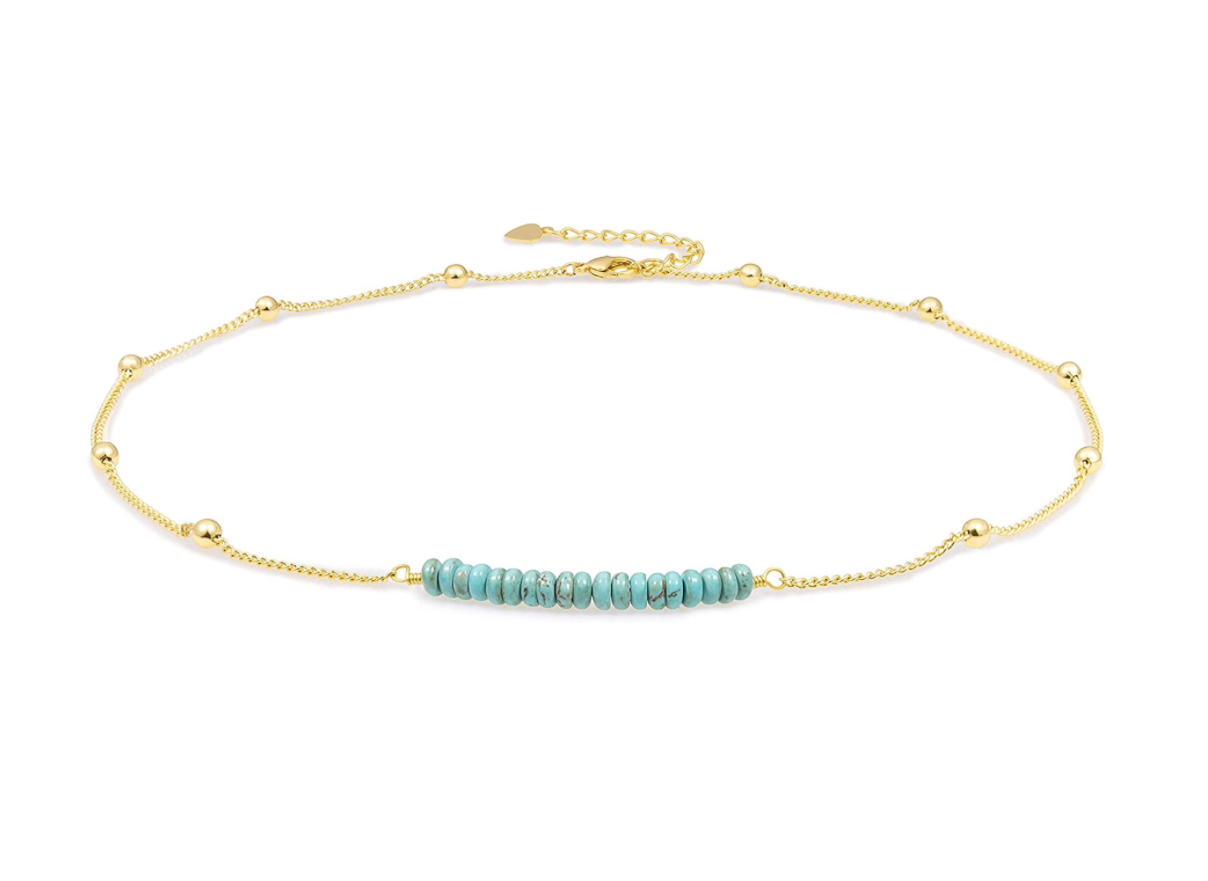 8K Gold Satellite Beaded Curb Ball Chain Choker