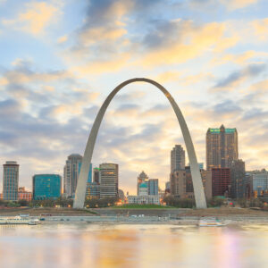 City of St. Louis skyline. Image of St. Louis downtown at twilight.