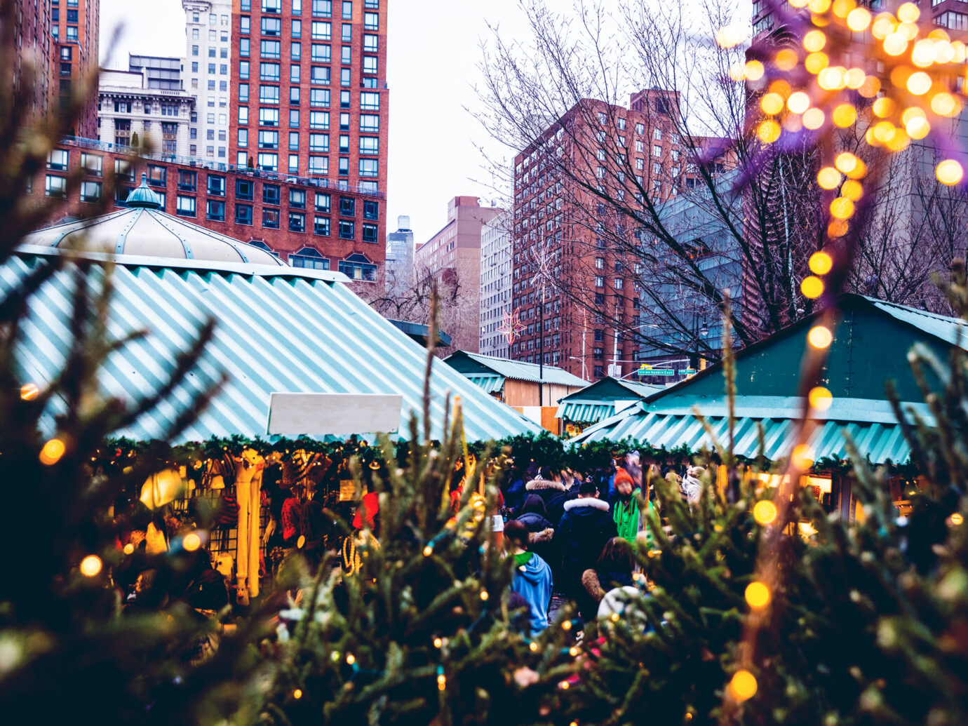 People visiting Christmas Market stands in Union Square in Midtown Manhattan.