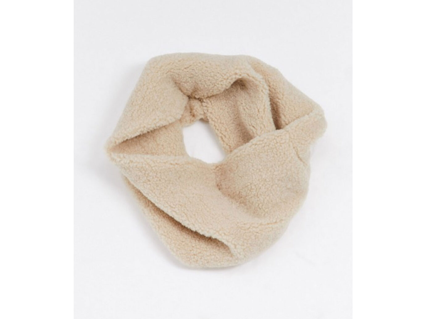 My Accessories London Exclusive Cream Teddy Borg Infinity Scarf