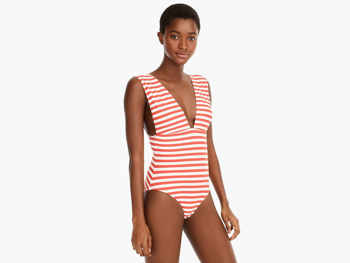 J.Crew Plunge V-neck one piece swimsuit in classic stripe