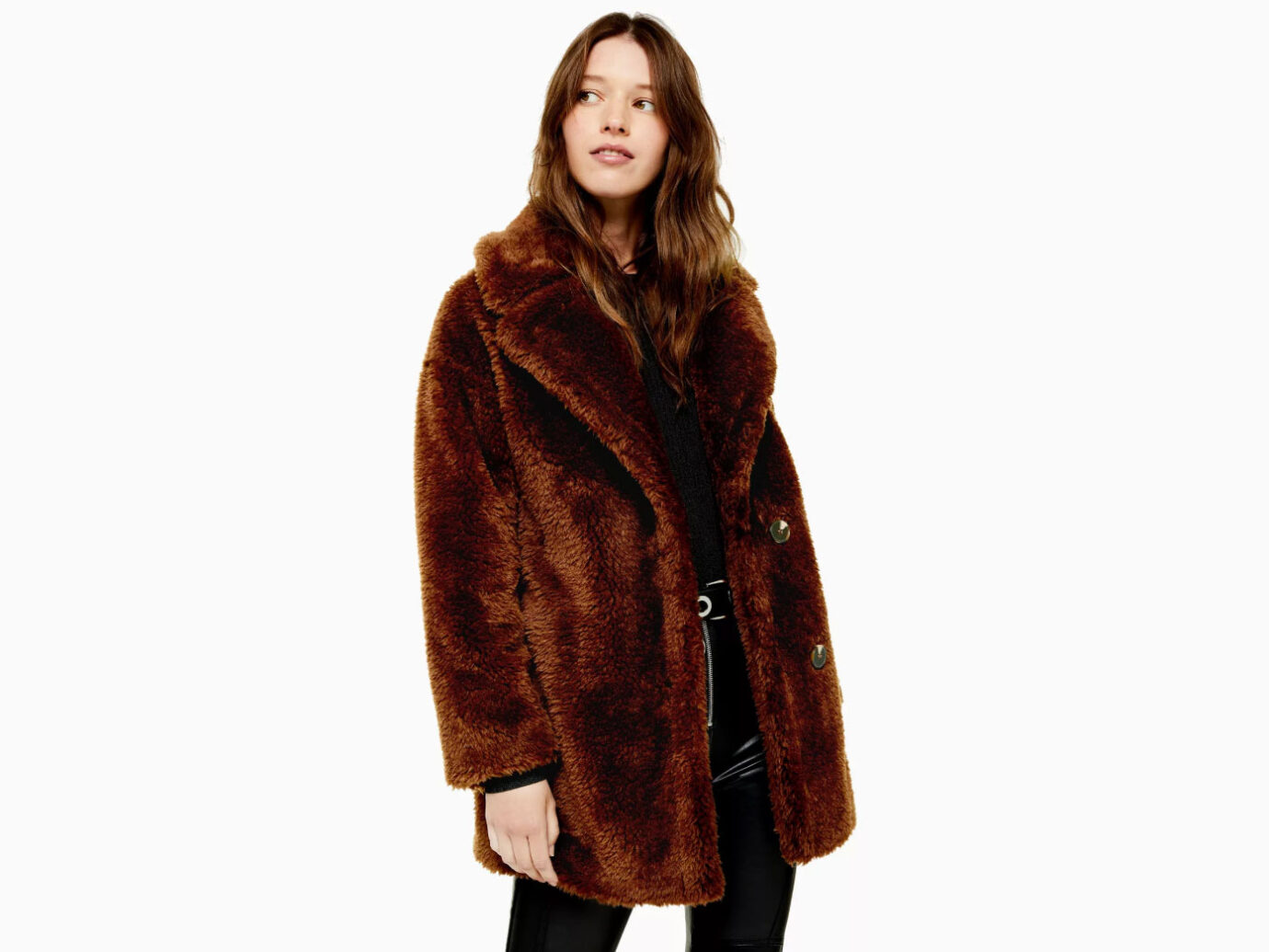 Topshop Chocolate Brown Soft Borg Coat