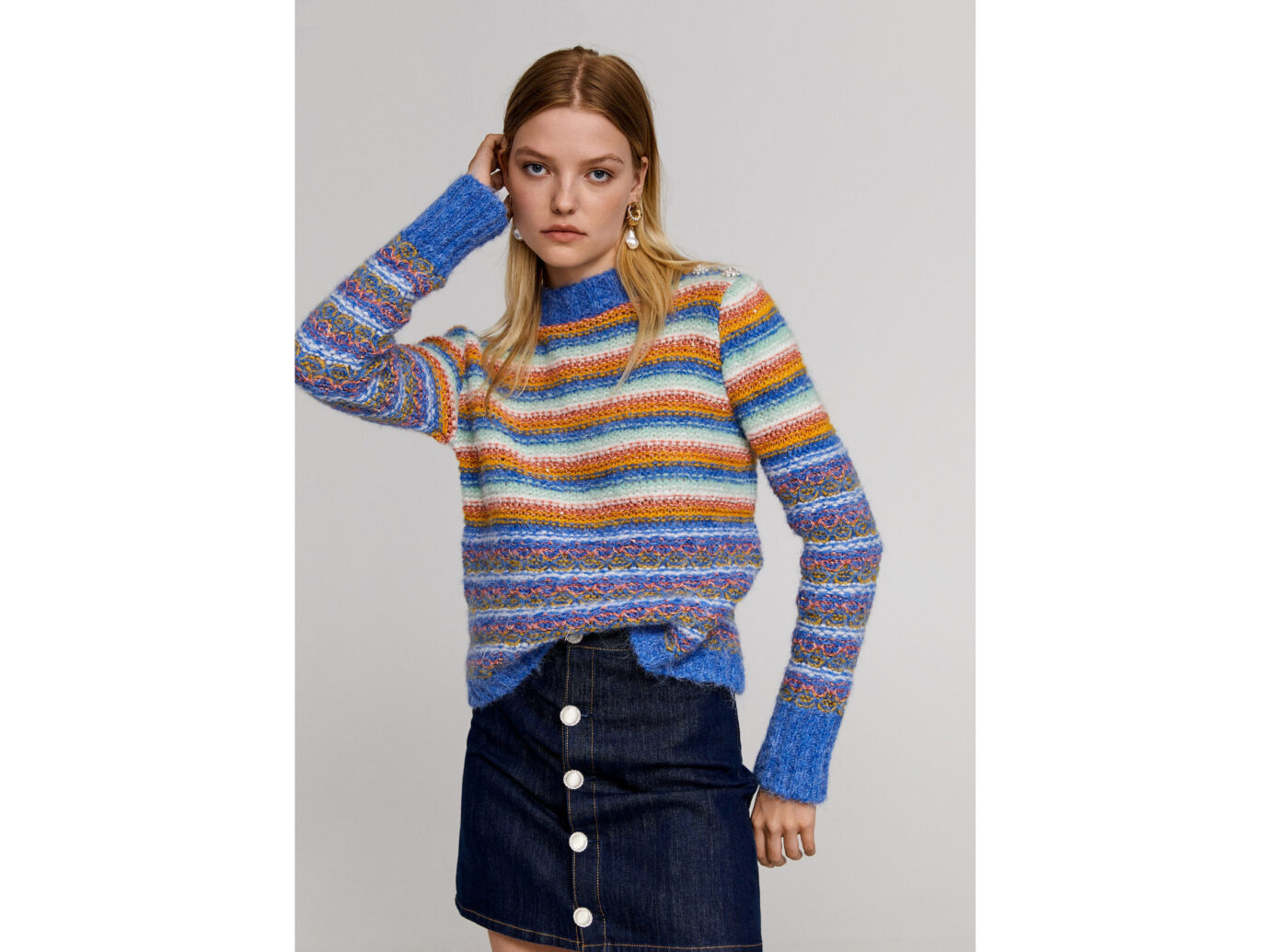 Beads striped sweater