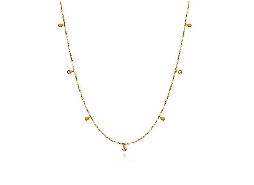 Gabriel & Co 14k Yellow Gold Diamond Station Necklace
